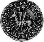 Ordre des Templiers : Ce sceau simplifie le travail des accusateurs lors du procès, car la représentation des deux chevaliers sur un même cheval les faits accuser de sodomie.